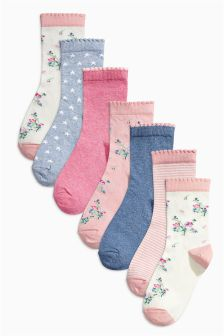 Pink Floral Socks Seven Pack (Older Girls)