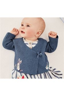 Blue Embroidered Detail Wrap Cardigan (0mths-2yrs)