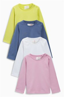 Multi Bright Long Sleeve Tops Four Pack (3mths-6yrs)