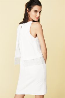 White Linen Blend Layer Dress