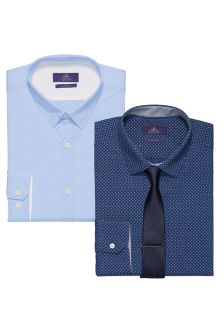 Blue/Navy Printed Shirts And Tie Set Two Pack