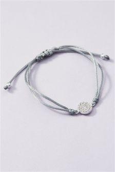 Diamanté Disc Cord Bracelet