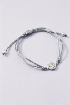 Silver Sterling Silver Pave Disc Cord Bracelet