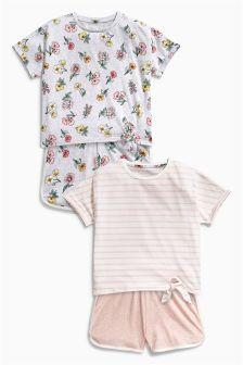 Pink Floral Short Pyjamas Two Pack (3-16yrs)