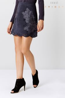 Coast Black Suede Artwork Skirt