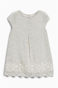 Ecru Stripe Broderie Tunic (3mths-6yrs)