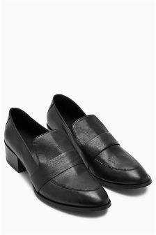 Leather Blocky Loafers