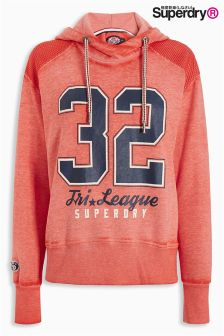 Superdry Bright Red Tri League Slouch Hoody