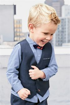 Waistcoat, Shirt And Bow Tie Set (3mths-6yrs)