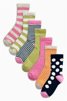 Multi Bright Spot And Stripe Socks Seven Pack (Older Girls)