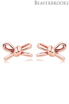 Beaverbrooks Silver Rose Gold Plated Bow Stud Earrings