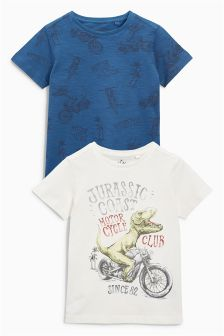 Ecru/Blue Jurassic Coast T-Shirts Two Pack (3-16yrs)