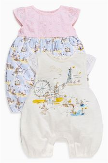 Coastal Scene Rompers Two Pack (0mths-2yrs)