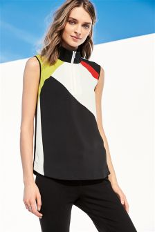 High Neck Colourblock Top