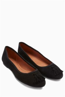 High Vamp Leather Ballerinas