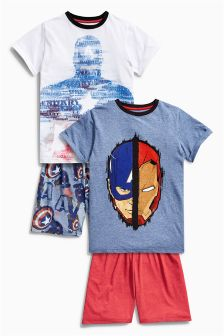 Captain America Short Pyjamas Two Pack (3-12yrs)