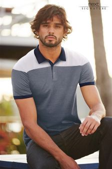 Navy/White Block Signature Polo