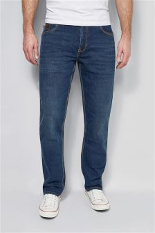 Mid Blue Straight Jeans With Leather Trim