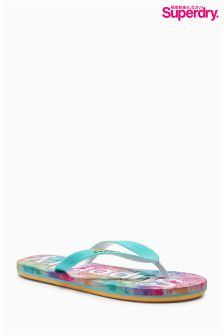 Teal Superdry Palm Print Flip Flop