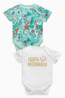 Mermaid Short Sleeve Bodysuits Two Pack (0mths-2yrs)