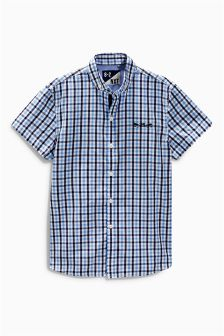 Blue Short Sleeve Gingham Shirt (3-16yrs)