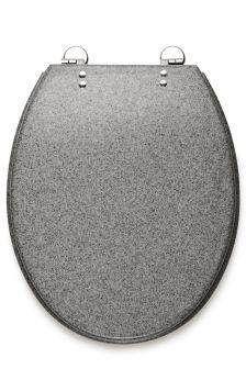 Slow Close Grey Resin Toilet Seat