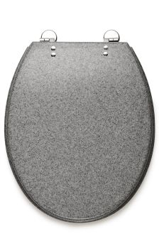 Slow Close Grey Resin Toilet Seat