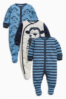 Navy Monkey Sleepsuits Three Pack (0mths-2yrs)