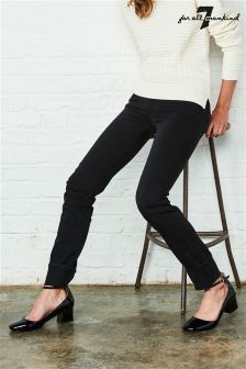 7 For All Mankind Mid Rise Roxanne Slim Illusion Luxe Black Jean