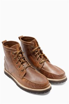 Leather Whipstitch Apron Boot