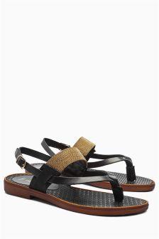 Metal Trim Toe Thong Sandals