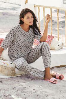 Grey Cactus Print Jersey Pyjamas