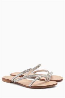 Asymmetric Jewel Sandals