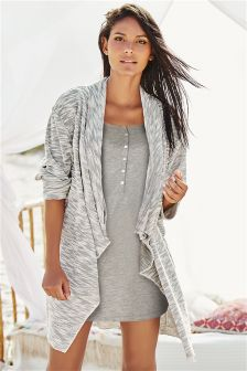 Grey Waterfall Textured Cardigan