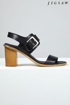 Jigsaw Black Britta Buckle Detail Sandal