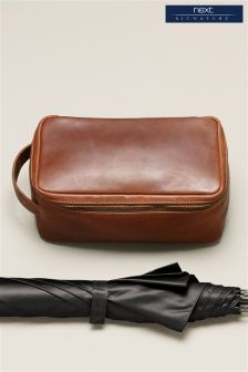 Brown Signature Leather Wash Bag