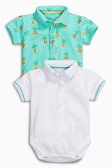 White/Aqua Pineapple Polo Shirt Body Two Pack (0mths-2yrs)