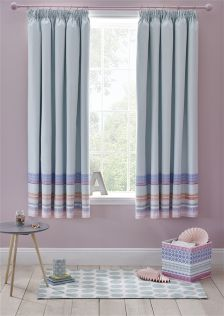 Tile Stripe Print Blackout Pencil Pleat Curtains