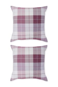 Set Of 2 Country Check Square Pillowcases