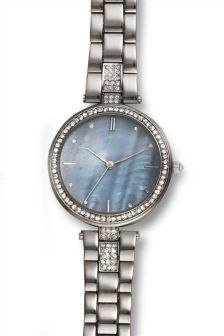 Silver T-Bar Embellished Watch