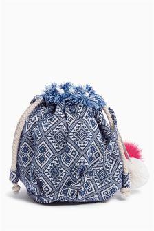 Blue Pom Pom Aztec Duffle Bag