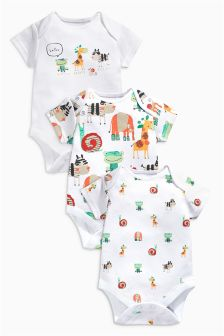 Animals Short Sleeve Bodysuits Three Pack (0mths-2yrs)