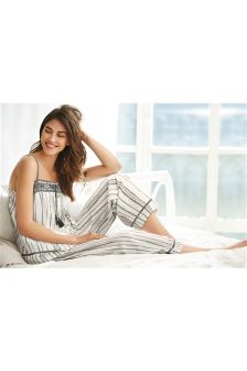 Grey Stripe Woven Cotton Pyjamas