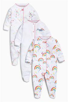 White Rainbow Sleepsuits Three Pack (0mths-2yrs)