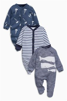 Whale Sleepsuits Three Pack (0mths-2yrs)