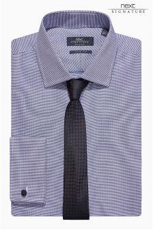 Navy Signature Shirt And Tie Set
