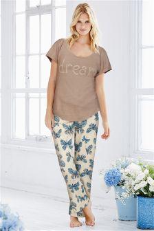 Mink Butterfly Print Pyjamas