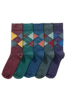 Five Pack Argyle Pattern Socks