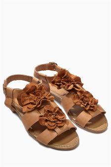 Tan Flower Leather Sandal