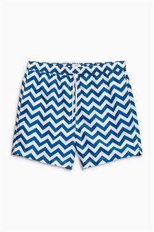 Blue/White Chevron Print Swim Shorts